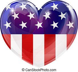 coração, americano, amor, bandeira