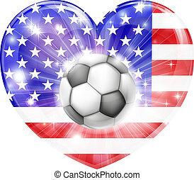 coração, americano, futebol, bandeira