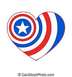 coração, americano, ilustração, bandeira, vetorial, style.