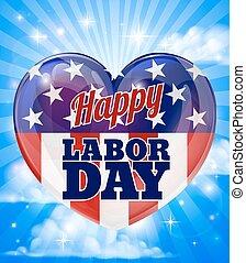 coração, americano, trabalho, bandeira, dia