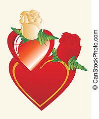 coração, amigo, meu, melhor, rosas
