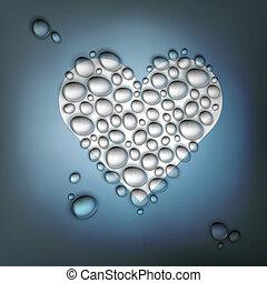 coração amoldou, água, drops., abstratos, dia dos namorados,...
