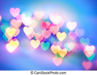 coração amoldou, abstratos, obscurecido, (natural, fundo,...