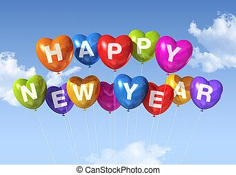 coração amoldou, ano, novo, balões, feliz