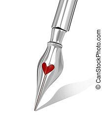 coração amoldou, bico, metal, caneta, tinta, buraco