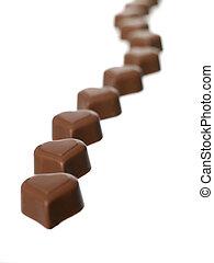 coração amoldou, chocolate
