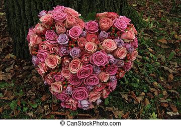coração amoldou, compaixão, flores