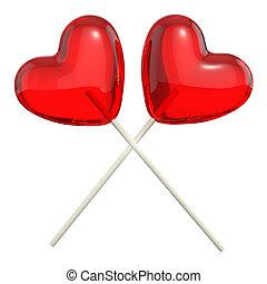 coração amoldou, cruzado, lollipops, dois