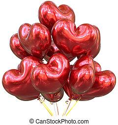 coração amoldou, decoração, aniversário, lustroso, partido, balões, vermelho, feliz