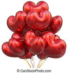 coração amoldou, decoração, partido aniversário, balões, vermelho, feliz