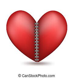 coração amoldou, dois, halfs