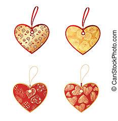 coração amoldou, etiquetas