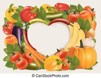 coração amoldou, fundo, feito, de, legumes, e, fruit., vector.