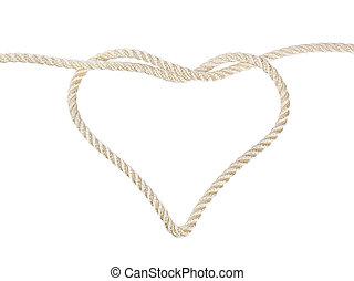 coração amoldou, nó, ligado, um, corda