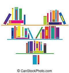 coração amoldou, prateleira livro, com, livros