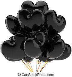 coração amoldou, pretas, balões, partido