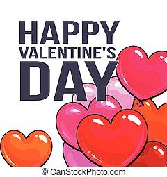 coração amoldou, saudação, valentine, balões, dia, cartão, grupo