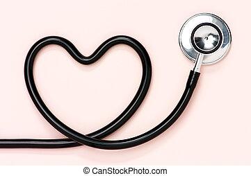 coração amoldou, stethoscope.