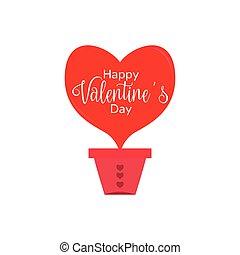 coração amoldou, valentine, balloon., ar, dia
