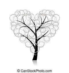 coração, amor, árvore, forma, desenho, seu