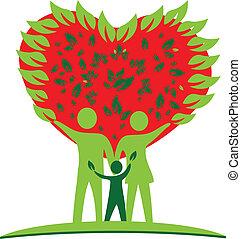 coração, amor, árvore, logotipo, família