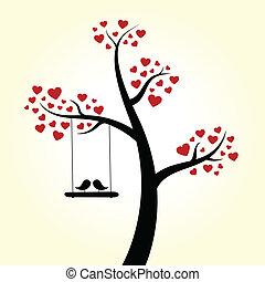 coração, amor, árvore