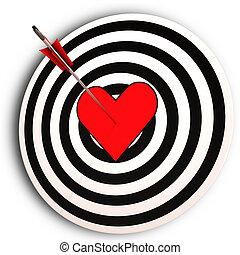 coração, amor, alvo, atingido, meios, tu