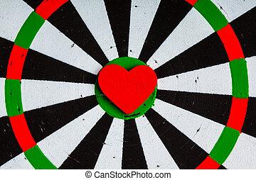 coração, amor, alvo, pretas, bullseye, fundo, closeup,...
