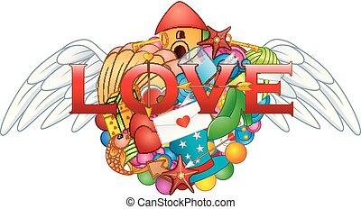 coração, amor, anjo, mão, doodles, desenhado, caricatura, asas