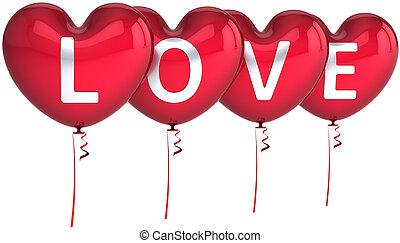coração, amor, balões, dado forma