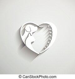 coração, amor, cão, ilustração, gato, vetorial