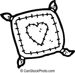 coração, amor, caricatura, almofada