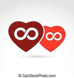 coração, amor, conceito, para sempre