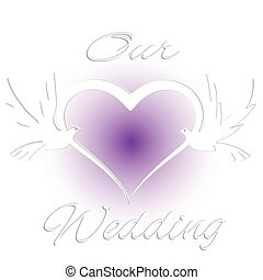 coração, amor, convite casamento, logotipo, pássaros, cartão