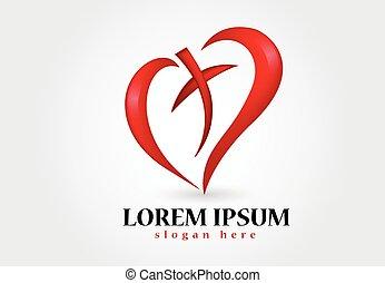 coração, amor, crucifixos, logotipo