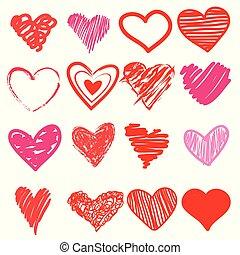 coração, amor, cute, doodle, mão, drawn., caricatura, vermelho, ícone