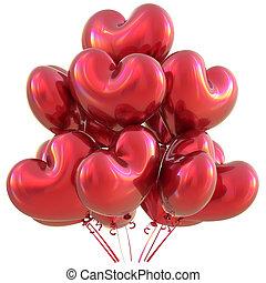 coração, amor, dado forma, decoração, partido aniversário, balões, vermelho, feliz