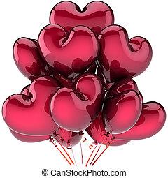 coração, amor, dado forma, escuro, balões, vermelho