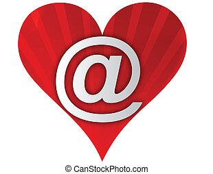 coração, amor, email