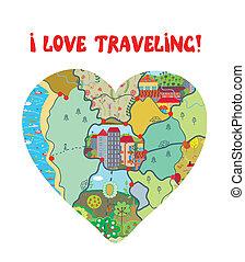 coração, amor, engraçado, viagem, mapa, cartão