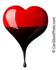 coração, amor, escoando, chocolate, forma, xarope