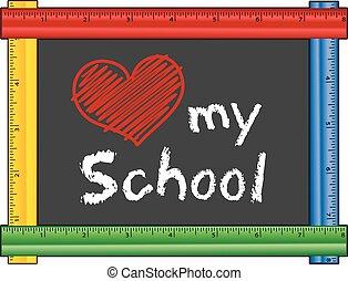 coração, amor, escola, régua, quadro, meu