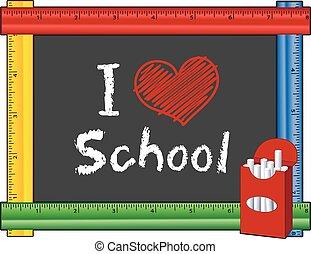 coração, amor, escola, régua, quadro