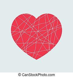 coração, amor, experiência., luz, símbolo, isolado, elemento, quebrada, forma, desenho, vermelho, mosaico