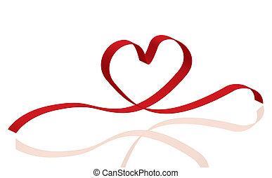 coração, amor, fita vermelha