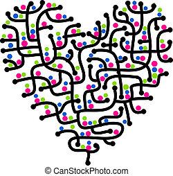 coração, amor, forma, desenho, labirinto, seu