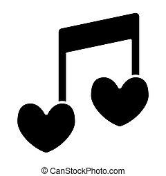 coração, amor, forma, melodia, desenho, glyph, teia, estilo, isolado, nota, 10., canção, ilustração, white., romanticos, sólido, eps, app., vetorial, icon., musical, projetado