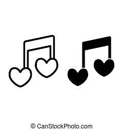 coração, amor, forma, melodia, desenho, glyph, teia, estilo, isolado, nota, 10., canção, ilustração, projetado, linha, romanticos, esboço, eps, app., vetorial, icon., musical, white.