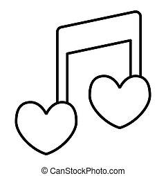 coração, amor, forma, melodia, desenho, teia, estilo, isolado, nota, 10., canção, ilustração, projetado, linha, romanticos, esboço, eps, app., vetorial, magra, icon., musical, white.