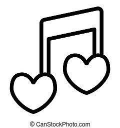 coração, amor, forma, melodia, desenho, teia, estilo, isolado, nota, 10., canção, ilustração, white., linha, romanticos, esboço, eps, app., vetorial, icon., musical, projetado